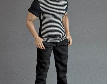 1/6th scale XXL black jeans pants / trousers for: bigger / larger sixth scale figures and male dolls