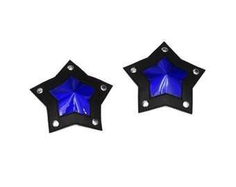 Iridescent Mirror Blue and Black PVC Star Shaped Pasties With Studs