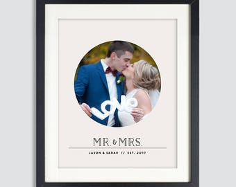 Wedding Gift Personalized Wedding Gift for Couples Newlywed Gift Mr and Mrs Personalized Photo Print