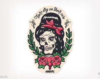 Amy Winehouse Skull Sticker Amy skull illustration Amy Winehouse tattoo Jade Winehouse by Ganbatte Team Sticker