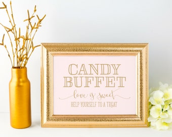 Candy Buffet Sign, Wedding, INSTANT DOWNLOAD, Printable Digital File, Hand Drawn, Calligraphy, Blush Pink, Gold, Black, 8x10
