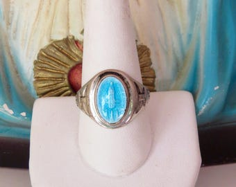 Hold for kikotheclown- do not buy unless you are them.-----Vintage VIRGIN MARY Enameled Man's Ring-  5.9g Sterling Ring- Stunning- size 10