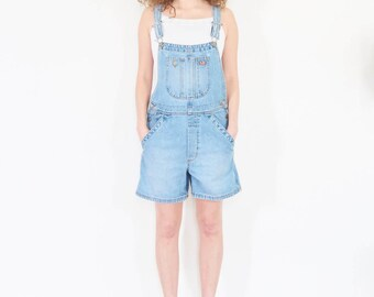 90s Light Wash Denim Shorts Overalls / Size Small