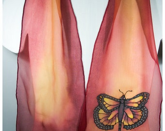 """Hand-painted silk scarves. 8""""x52""""~Monarch Butterfly Silk Scarf. Orange silk scarf. Handpainted silk scarf~Painted silk scarves~Silk Painting"""