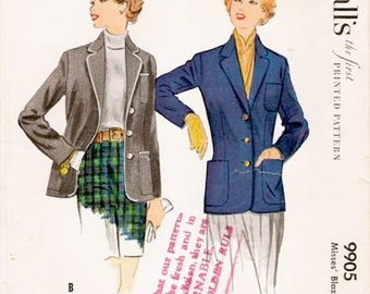 Fab Classic Vintage 1950s McCall's 9905 Notched Collar Blazer Jacket Sewing Pattern B34