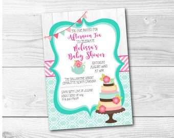 Tea Party Birthday Bridal Shower Invitation Digital File Pink Aqua