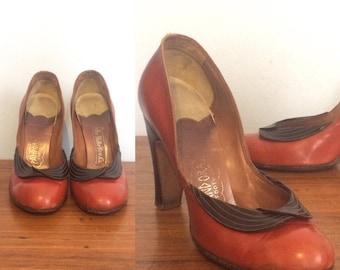 Vintage 40s Rust Brown Leather Pumps / Cognac Round Toe High Heels / Pin up Rockabilly Heels / Size 5 1/2