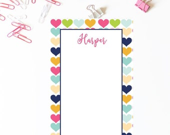 Hearts Notepad . Personalized Notepad . School Notepad . Office Notepad . Preppy Notepad . Mom's Notepad . Teacher Notepad . Small Business