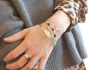 Silver Chain Bracelet, Geometric Jewelry, Everyday Bracelet, In Emerald green, Mint green, Black enamel, BY Shuna Jewelry