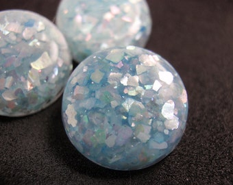 Confetti Butttons, Iridescent Blue  16mm, Vintage Pastel Blue MOP Embedded Lucite buttons
