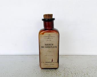 "7"" Antique Bottle Crooked Lip Square Amber Glass Sodium Bicarbonate Tablets Medicine"