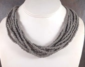 Seed Bead Necklace, Statement Necklace, Gray, Multistrand Necklace, Grey, Chunky Necklace, Beaded Necklace, Gray Bead Necklace, Big Necklace