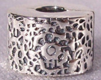 PANDORA Layers Of Lace Sterling Silver Lazer Cut Lace Clip Charm FREE SHIPPING