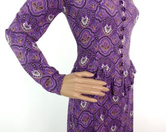 Beautiful 60s Purple Paisley Biba Style Midi Dress With Peplum Detail In Soft Crepe