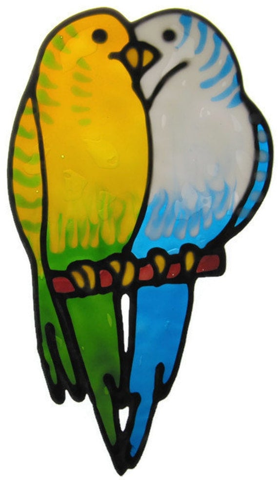 Budgies Suncatcher window sticker/decal stained glass style Sunshiner
