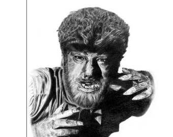 The Wolfman 11 x 17 poster - Original Graphite Portrait
