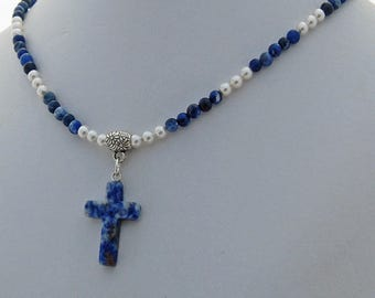 Sodalite Natural Stone Cross Crystal Pearl Necklace