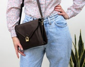 Dark Brown Faux Leather Clasped Handbag