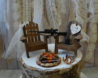 Hunting themed deer hunter groom bride wedding cake topper the hunt is over camping deer buck doe camouflage wedding sign shotguns