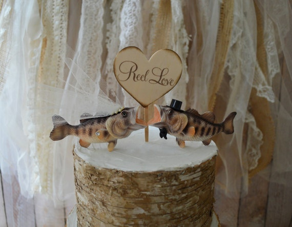Large bass wedding cake topper fishing themed bride and groom for Fishing cake decorations