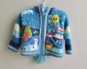 Baby Peruvian Blue Aqua Pink Sweater Cardigan with Alpacas and Clouds - 18 mo