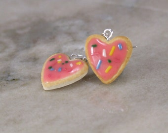 Miniature Scented Heart shaped Sugar Cookie Polymer Clay Earrings