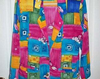 Vintage 80s Ladies Multi Color Block Blazer by Graff Size 6 Only 10 USD