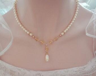 Gold pearl drop necklace, Swarovski pearl necklace, Brides gold pearl necklace,  Gold CZ filigrees, Pearl wedding necklace ~ BETH