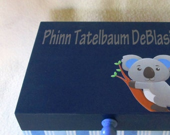 Baby Keepsake Box, Baby Memory Box, Personalized Keepsake Box-  Koala Keepsake Box - Gift Box, Navy and Light Blue Memory Box - Koala - Gift