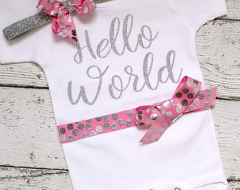 Hello World Baby Onepiece, Hello World Coming Home Outfit, Hello World Take Home Outfit, Hello World Bodysuit with Headband, pink Silver