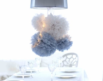 Dusty blue.. 64  mixed size Tissue paper  PomPoms decoration set  | Wedding  Party Bridal Shower Birthday Nursery Decorations