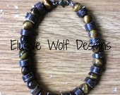 Tigers Eye and Heishi Beaded Bracelet - Natural Earth Tone Jewelry - Semi-Precious Stone Bracelet - Elusive Wolf