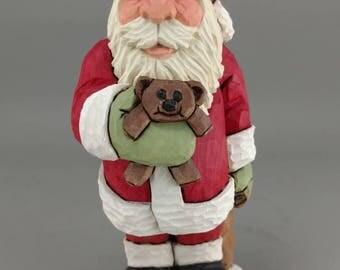 Hand Carved Wood Santa with Teddy Bear