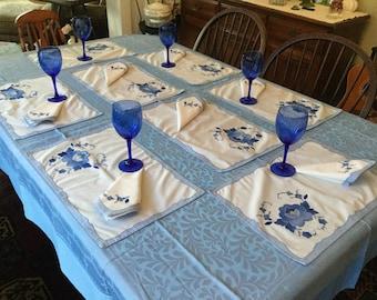 Vintage Linens Maderia Work  Napkins & Placemats Set HandMade Floral Appliqué Hand Stitched Cotton Table Linens Napkin Placemat Set of 8