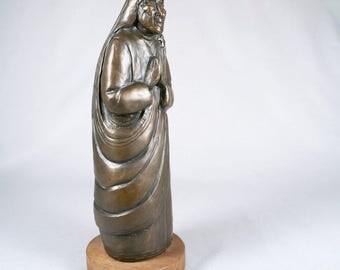 Vintage Saint Mother Theresa Bronze sculpture on wood base