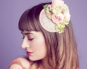 Blush Peony Vintage Style Fascinator Hat