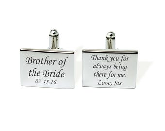 Mens gift, Brother of the Bride, Mens Personalized, Personalized cufflinks, Custom cufflinks Groomsman cufflinks Brother cufflinks, Engraved