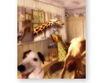 "Animal Art Print Nursery Wall Art Zoo Animals Mixed Media Collage Giraffe Print Jack Russell Terrier 8 x 10 ""A Friend To All"""