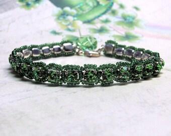 Green Rhinestone Bracelet, St. Patrick's Day Bracelet, Rhinestone Tennis Bracelet, Swarovski Clover Bracelet, Irish Bracelet, Clover Jewelry