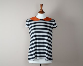 Striped tshirt, striped shirt, short sleeve, cotton tshirt, jersey top, womens clothing, orange collar, grey black stripes, alicecloset