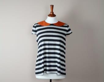 Striped tshirt, striped shirt, short sleeve, cotton tshirt, jersey top, womens clothing, orange collar, grey black stripes, alicecloset