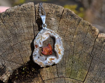 Geode Agate Druzy Real Pressed Heather Boronia Flower Resin Pendant OOAK
