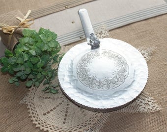 vintage hammred silent butler hand forged lidded crumb tray