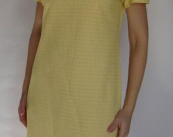 SHEER YELLOW MOD shift dress pointelle betty hartford M