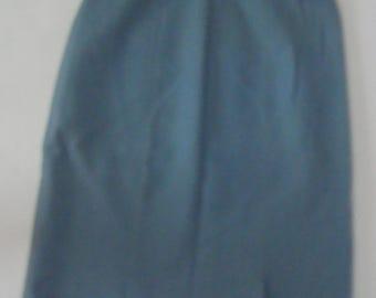 light blue WOOL PENCIL SKIRT wool high waisted kick pleats vintage xs