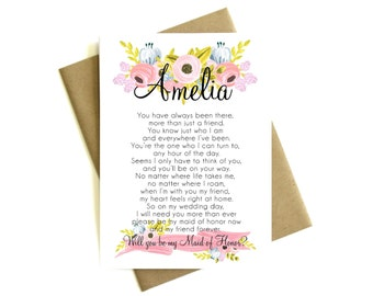 Personalized Maid of Honor Card Poem 'Will You Be My Maid of Honor' - Greeting Card, Maid of Honor, Floral Card, Bridal Party, Poem