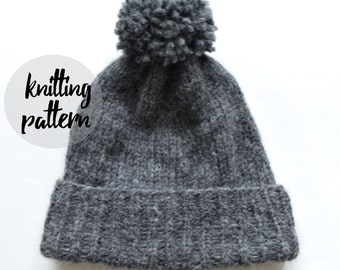 Ultra Cozy Winter Beanie, Pom-Pom Hat / Easy Beginner Knitting Pattern / Instant PDF Digital Download