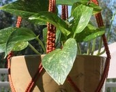 SMALL Handmade Macrame Plant Hanger Holder - 4mm Braided Poly Cord in Rust / Pecan Multi Color