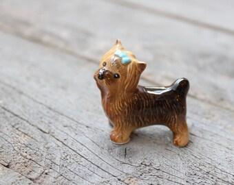 Mini Yorkie Figurine, Ceramic Dog with Bow, Yorkshire Gift, Dog Lover, Hagen Renaker