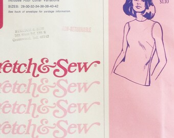 Stretch knit sewing pattern, Stretch and Sew 200 ladies shell with 4 collar styles - pure 1960s fashion plus size sewing pattern